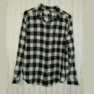 XL Levi's Black Plaid Boyfriend Fit Flannel